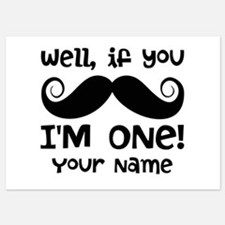 1st Birthday Mustache Personalized 5x7 Flat Cards