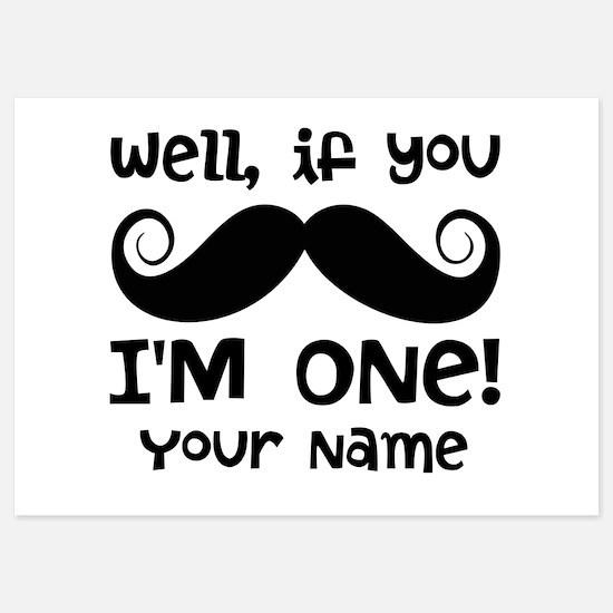 1st Birthday Mustache Personalized Invitations