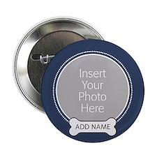 "Dog Bone Pet Photo Blue 2.25"" Button"