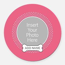 Dog Bone Pet Photo Pink Round Car Magnet