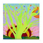 Yellowgreen Tree Of Life Tile Coaster