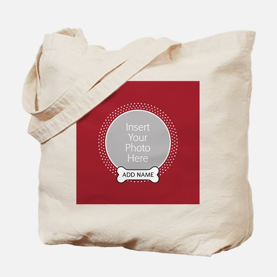 Dog Bone Pet Photo Red Tote Bag