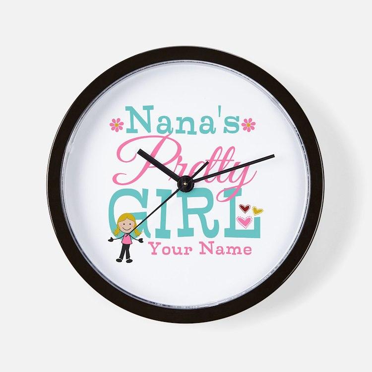 Personalized Nana's Pretty Girl Wall Clock
