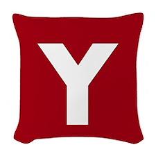 Modern Monogram Red Woven Throw Pillow