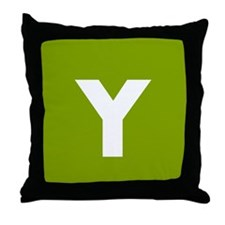 Modern Monogram Lime Green Throw Pillow
