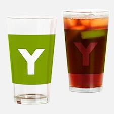 Modern Monogram Lime Green Drinking Glass