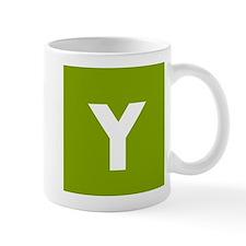 Modern Monogram Lime Green Mugs