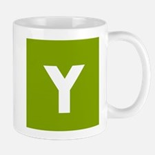 Modern Monogram Lime Green Mugs