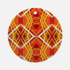 orange yellow african geometric pat Round Ornament