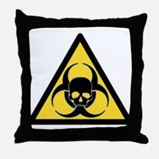 Biohazard symbol and skull Throw Pillow
