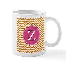 Hot Pink Orange Monogram Mugs