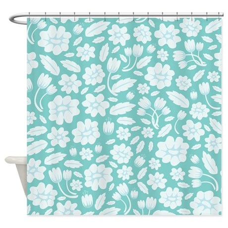 Blue Floral Shower Curtain By Ornaartzi