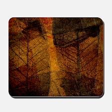 brown leaf print Mousepad