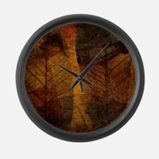 brown leaf print Large Wall Clock
