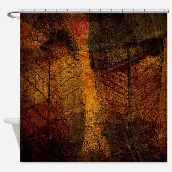 brown leaf print Shower Curtain