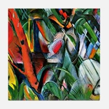Franz Marc art: In the Rain Tile Coaster