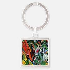 Franz Marc art: In the Rain Square Keychain