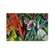 Franz Marc art: In the Rain Rectangle Magnet