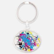 CMYK Splatter Oval Keychain