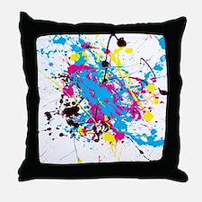 CMYK Splatter Throw Pillow