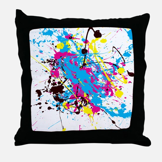 CMYK Splatter Throw Pillow