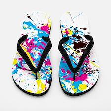 CMYK Splatter Flip Flops