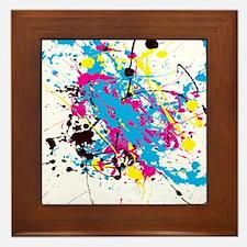 CMYK Splatter Framed Tile