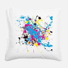 CMYK Splatter Square Canvas Pillow