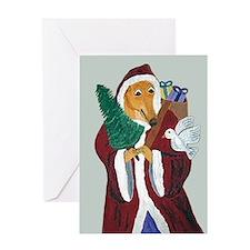 Greyhound Father Christmas Greeting Cards