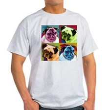 Pug Pictures Ash Grey T-Shirt