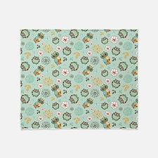 Whimsical Owl Pattern Throw Blanket