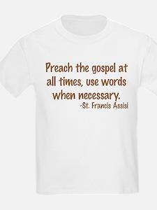PreachTheGospelWordsBrownText1.png T-Shirt