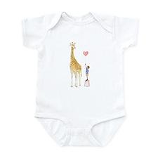 Giraffe With Little Boy And Balloon Baby Onesie