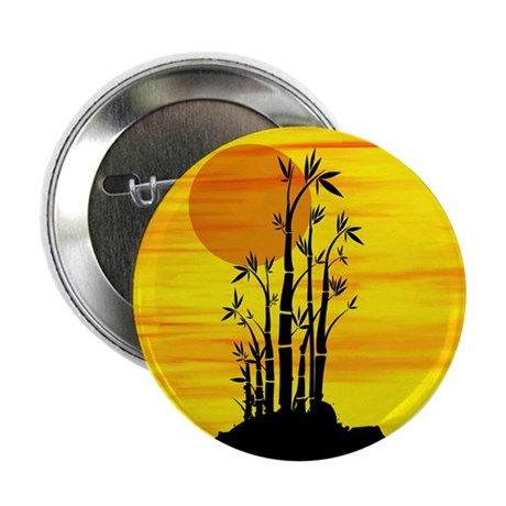 Silouette oriental bamboo on a orange yellow and r