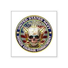 "USN Navy Eagle Skull Square Sticker 3"" x 3"""