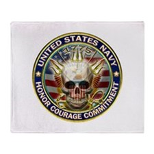 USN Navy Eagle Skull Throw Blanket
