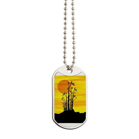 Artistic view of bamboo on a red sunset Dog Tags