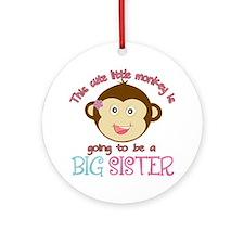 Cute Monkey Big Sister Ornament (Round)