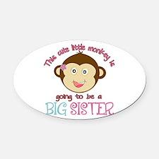 Cute Monkey Big Sister Oval Car Magnet