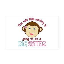 Cute Monkey Big Sister Rectangle Car Magnet
