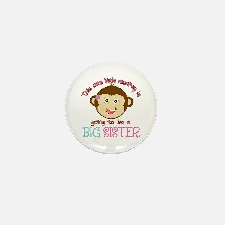 Cute Monkey Big Sister Mini Button (10 pack)