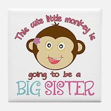 Cute Monkey Big Sister Tile Coaster