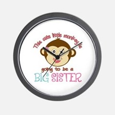 Cute Monkey Big Sister Wall Clock