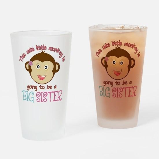 Cute Monkey Big Sister Drinking Glass