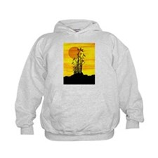 Artistic view of bamboo on a red sunset Hoodie