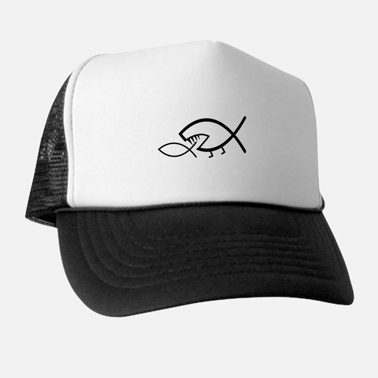 Darwin Fish, black on white Trucker Hat