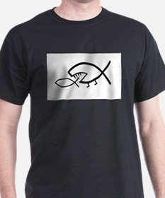 Darwin Fish, black on white T-Shirt