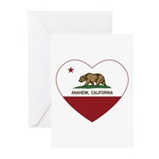 california flag anaheim heart Greeting Cards