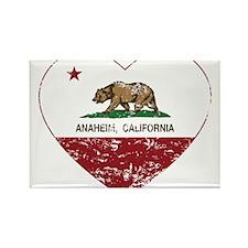 california flag anaheim heart distressed Magnets