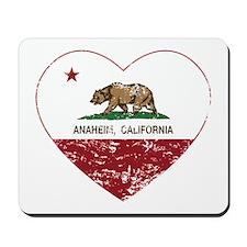 california flag anaheim heart distressed Mousepad